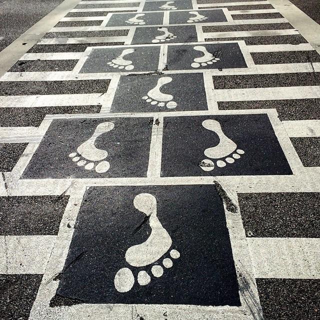 Baltimore features a hopscotch crosswalk.