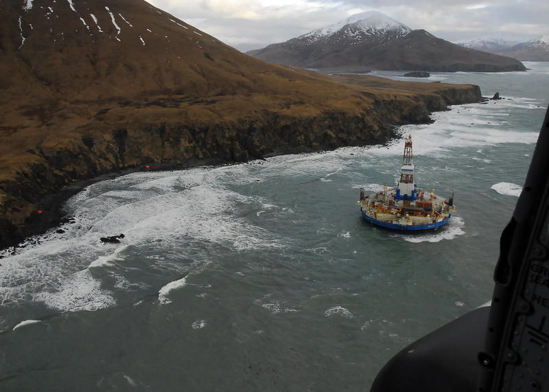 The drilling rig Kulluk was grounded in 2013 after efforts by U.S. Coast Guard and tug vessel crews to move the vessel to a safe harbor during a winter storm during a tow from Dutch Harbor, Alaska, to Everett, Wash.