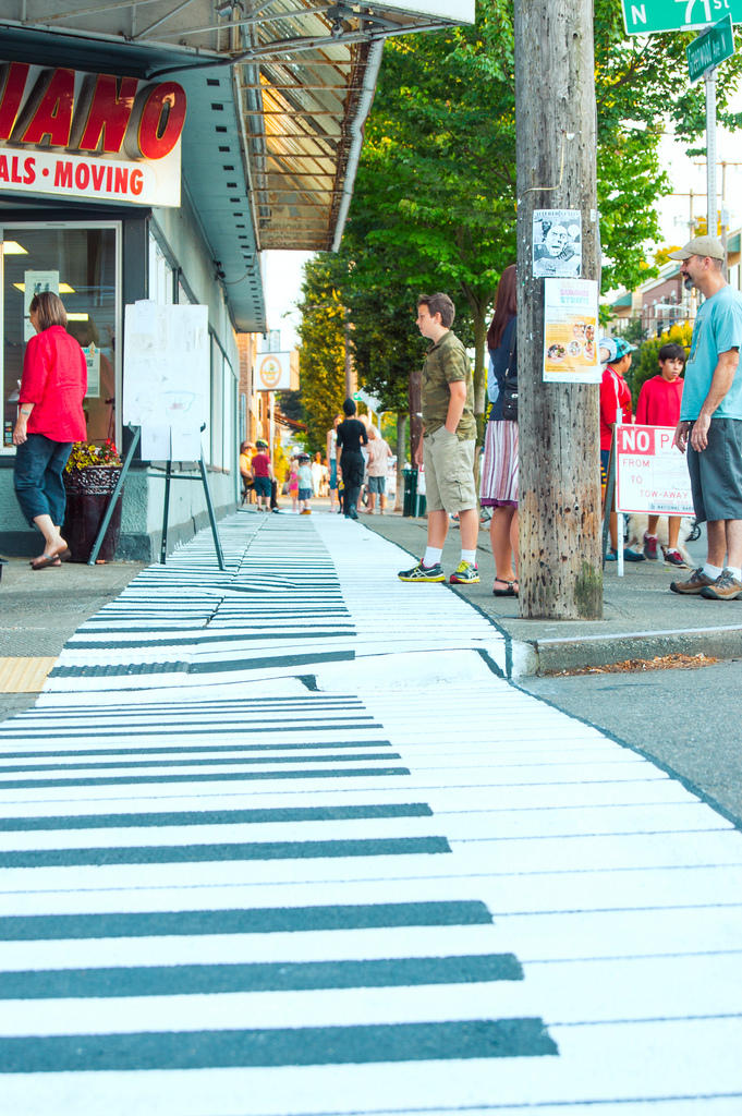 Piano keys crosswalk on Phinney Ridge outside A-1 Piano, which rents, sells and moves pianos.