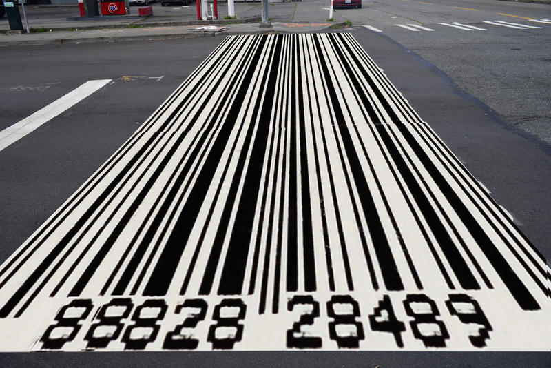 Bar codes already look a bit like crosswalks. This could be a good fit in South Lake Union, where Amazon's headquarters are located.
