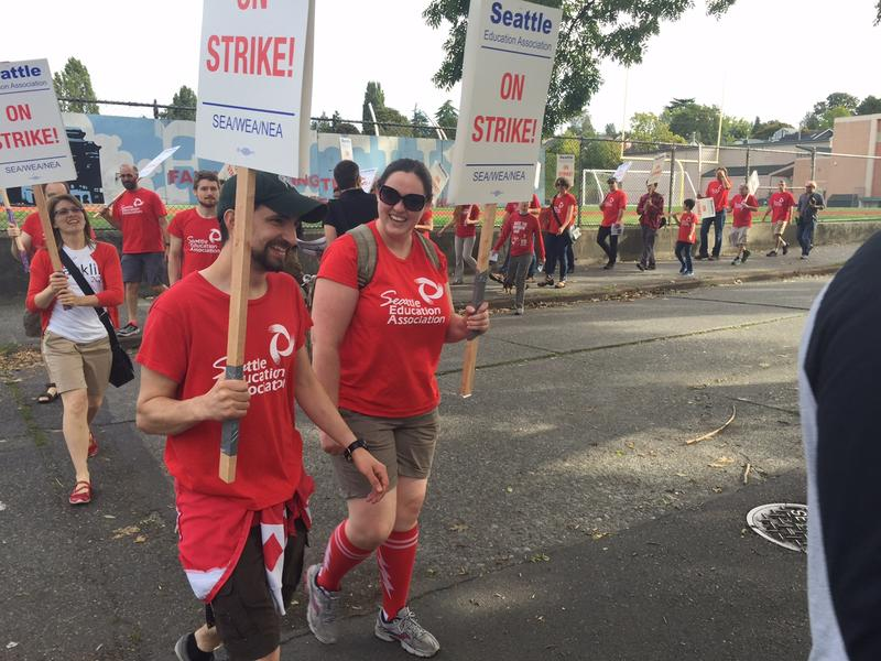 Teachers walk the picket line at a Seattle school.