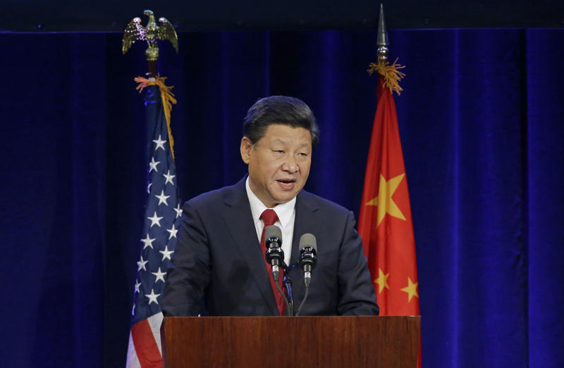 Chinese President Xi Jinping speaks Tuesday, Sept. 22, 2015, at a banquet in Seattle.