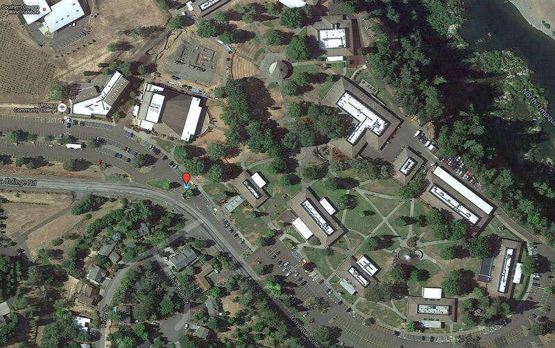 An aerial view of the Umpqua Community College campus, where a mass shooting took place on Thursday.