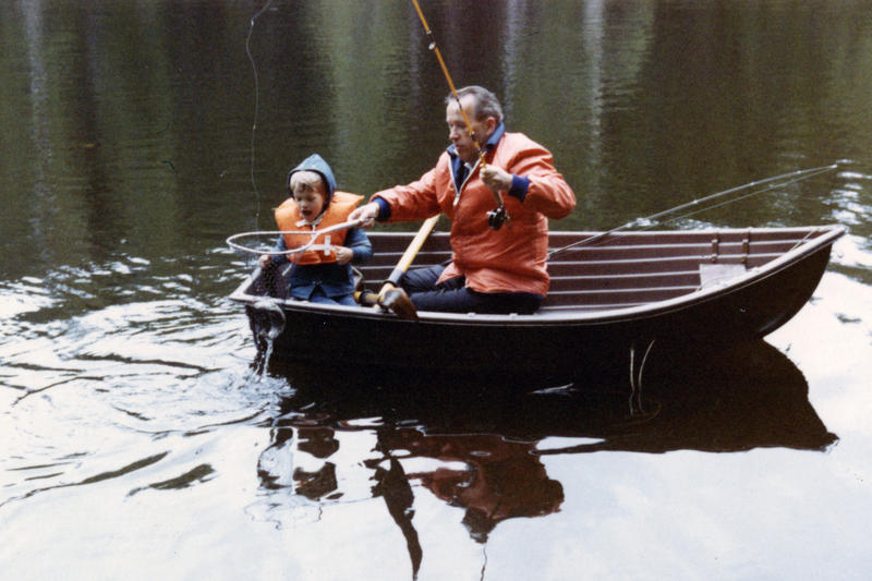 "Sen. Henry M. ""Scoop"" Jackson fishes with his son, Peter, on an unnamed lake in an undated photo."