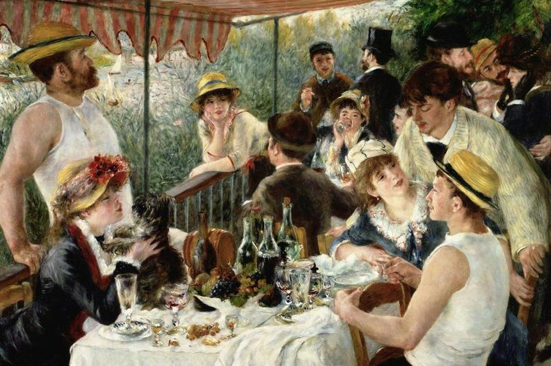 "Pierre-Auguste Renoir's ""The Luncheon of the Boating Party,"" finished in 1881. Renoir was a founder of the impressionist painting movement but moved on to other styles."