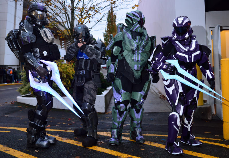 "Actors playing characters in the Halo video games prep for the release of ""Halo 5: Guardians"" at the Microsoft store at Seattle's University Village on Monday, Oct. 26, 2015. From left: Melissa Kirbyson, Gabe Schulz, Cassie Karst and Aliya Matthews."