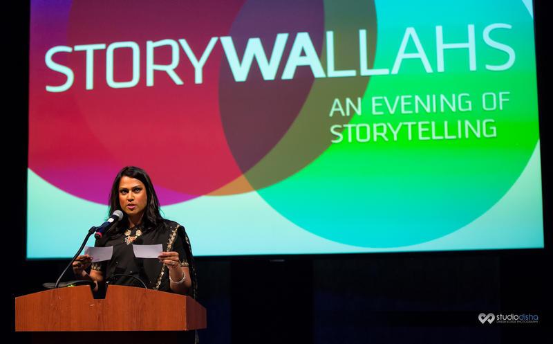 Host Aneesh Sheth speaks at the inaugural KUOW Storywallahs, , held at Kirkland Performance Center on May 3, 2015