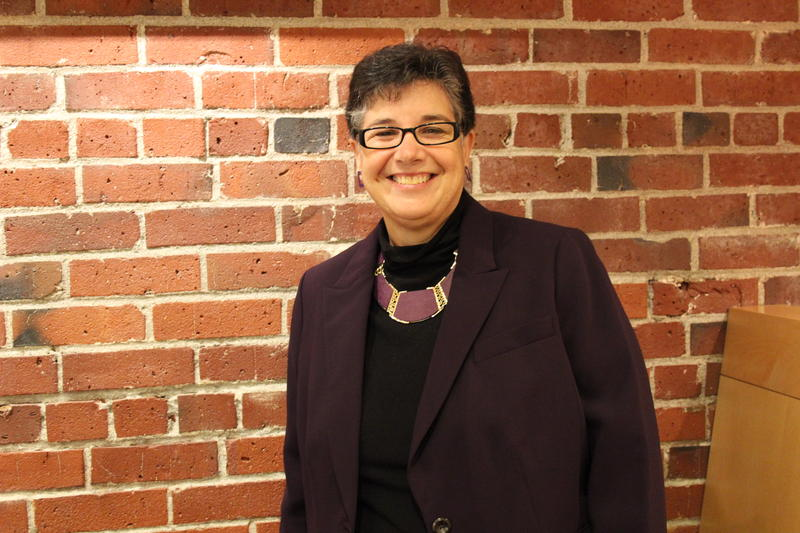 New University of Washington president Ana Marie Cauce in the KUOW greenroom.
