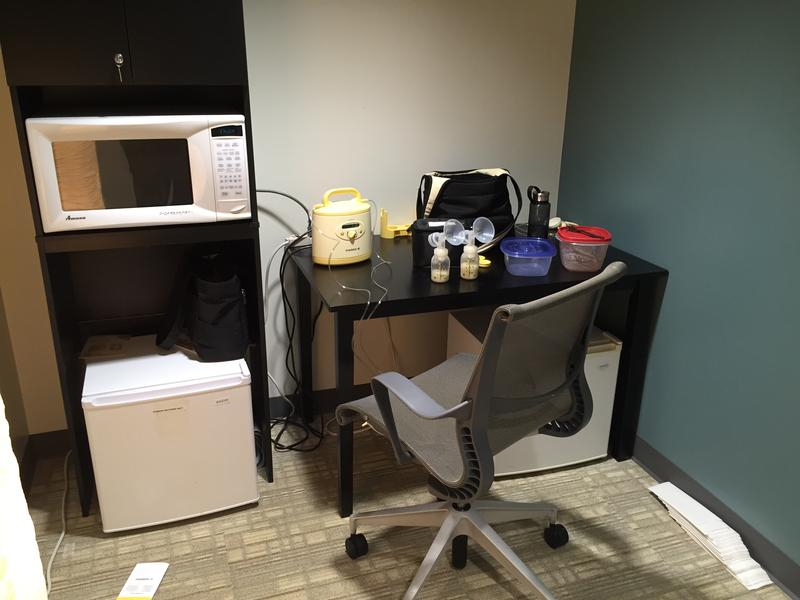 The pumping rooms at Seattle Genetics each have a desk, chair, mini fridge, microwave, soft lighting option and -- the best part -- a hospital-grade Medela pump.
