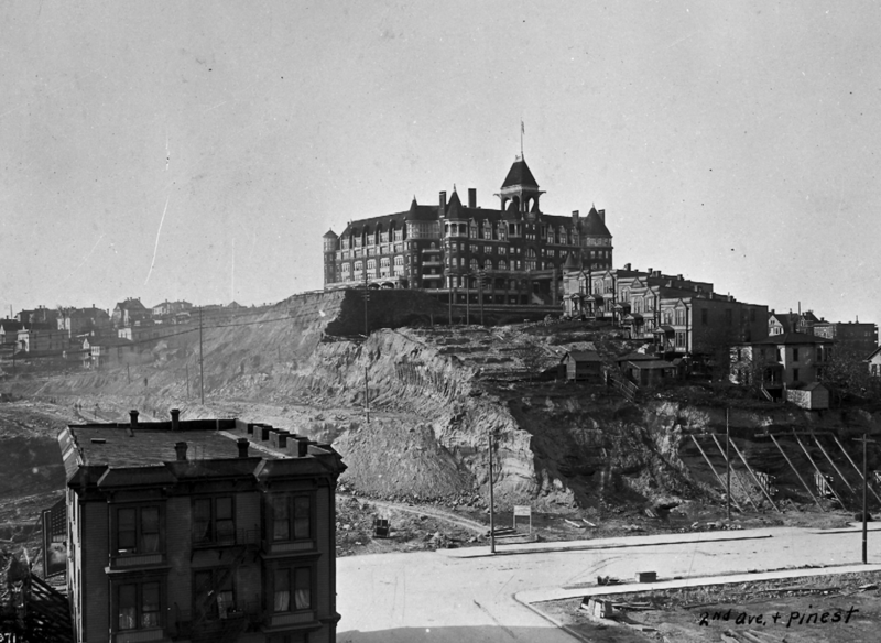 Washington Hotel, 1905. President Theodore Roosevelt once slept in this grand hotel, which stood near 3rd Avenue between Stewart and Virginia. Within three years of when this image was shot, the hotel and the ground beneath it had been removed.