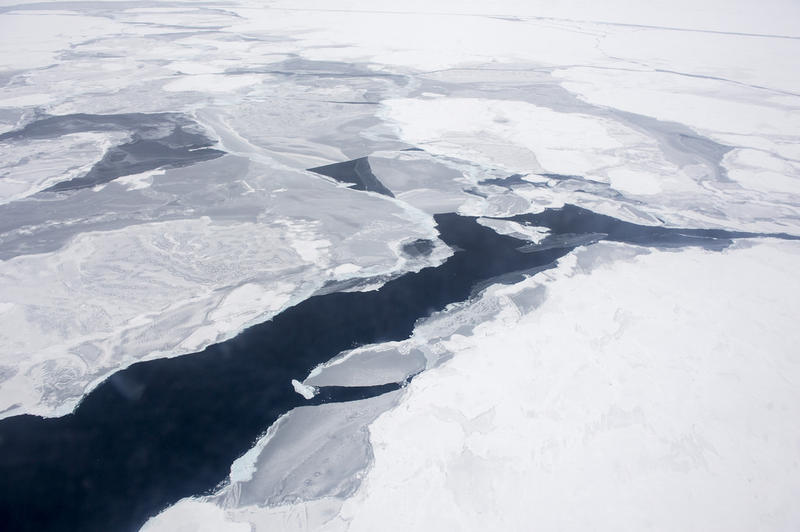 A Coast Guard C-130 flies over the Arctic Ocean during an Office of Naval Research-sponsored study of the changing sea ice, ocean and atmosphere.