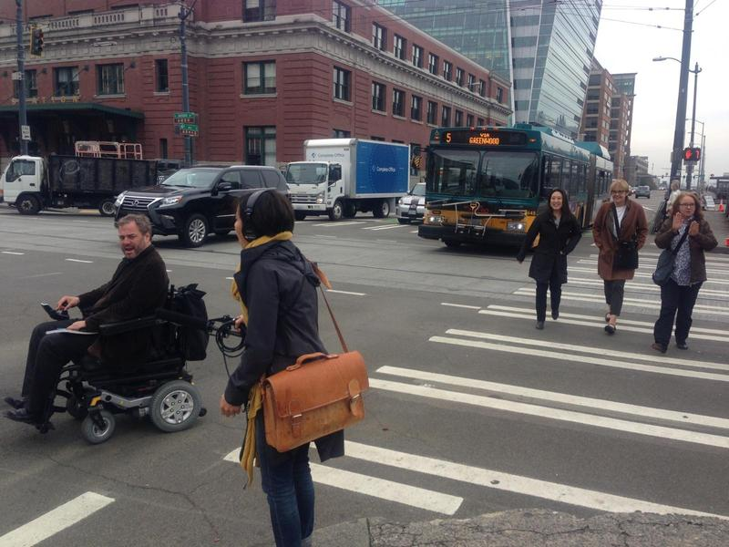 KUOW reporter Ruby de Luna interviews David Whedbee about the challenges of navigating a wheelchair around bad curb cuts in Seattle.