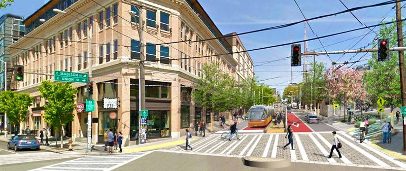 An artist's depiction of what Bus Rapid Transit could look like on Madison Street.