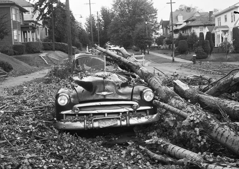 Columbus Day Storm damage at 30th Avenue and East Spruce Street. The photo was taken Oct. 15, 1962, three days after the storm struck.