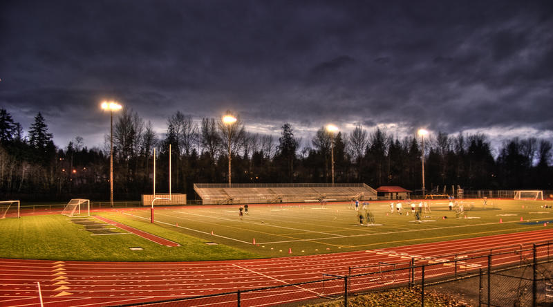 Juanita High School football field in Kirkland, Washington.