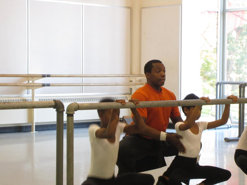 PNB DanceChance teacher Kiyon Gaines with students
