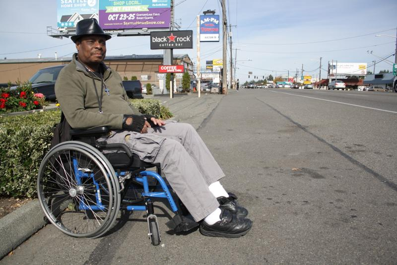 Darrell Merriweather on a stretch of his route from the bus stop to the senior housing where he lives.