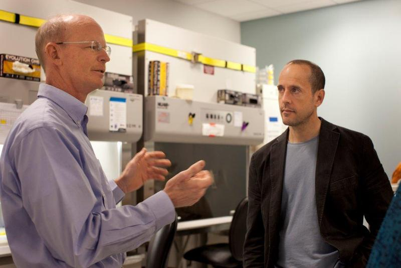 Dr. David Rawlings (left) and Dr. Andrew Scharenberg (right) pioneered a gene editing method that gives human T cells the ability to resist HIV and either kill HIV or tumors. The research could have clinical applications in as early as a few years.