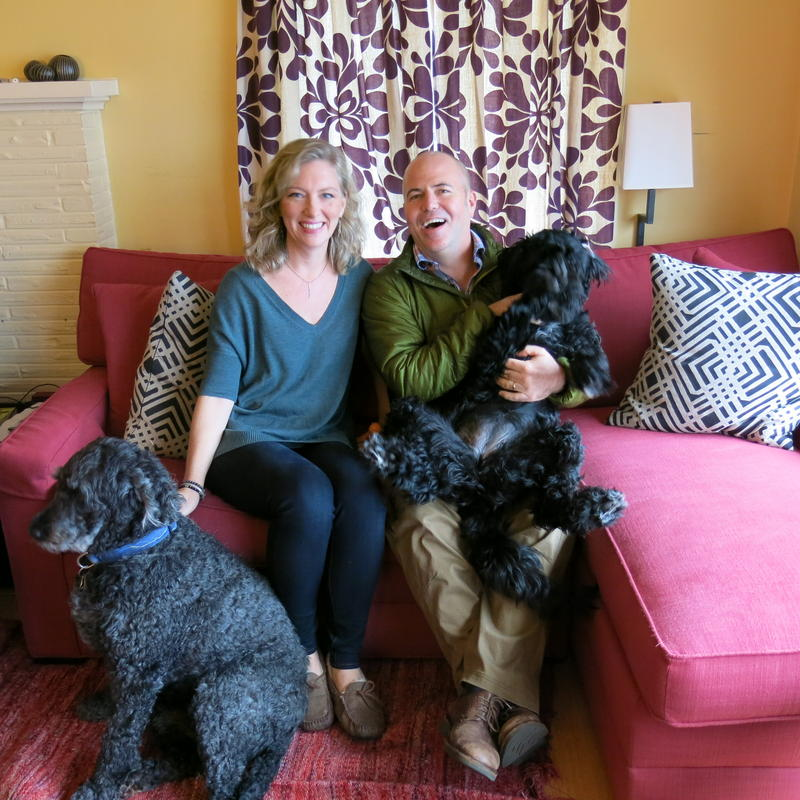 Kristin Rowe-Finkbeiner, Bill Finkbeiner and the dogs they argue about.