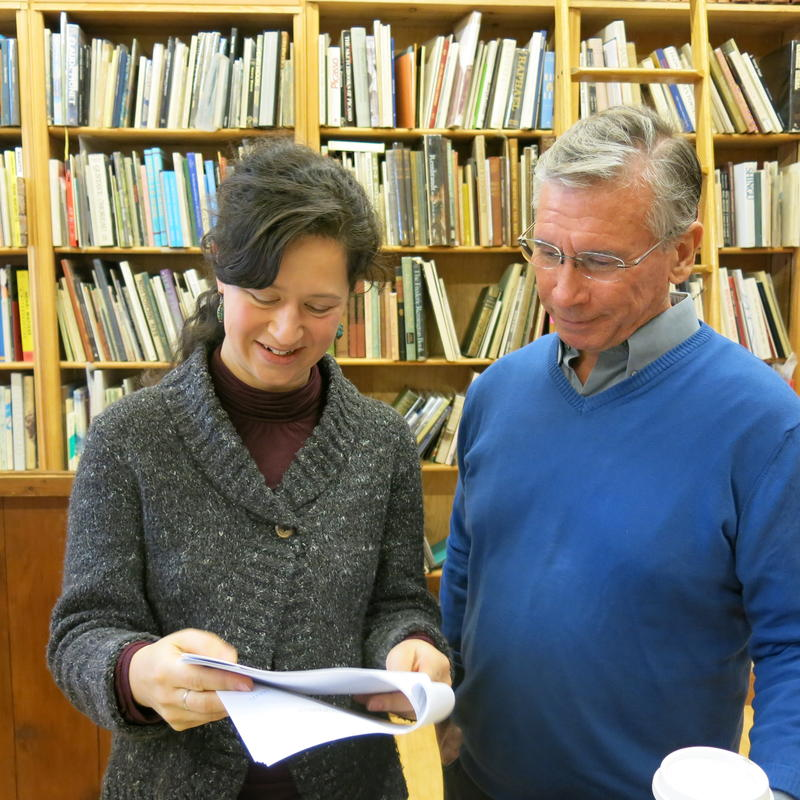 Annie Brulé and Phil Bevis go over a manuscript at Arundel Books.