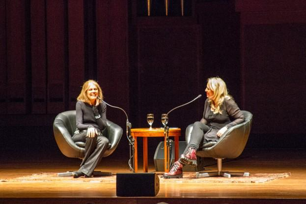 Gloria Steinem and Cheryl Strayed at Benaroya Hall on Nov. 8.
