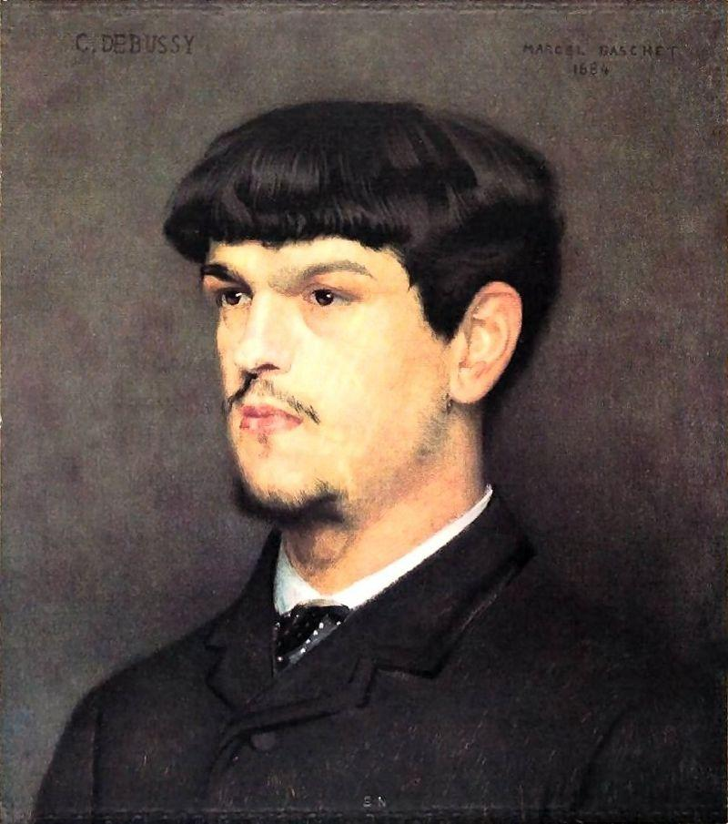 A portrait of composer Claude Debussy painted by Marcel  Baschet, 1884.