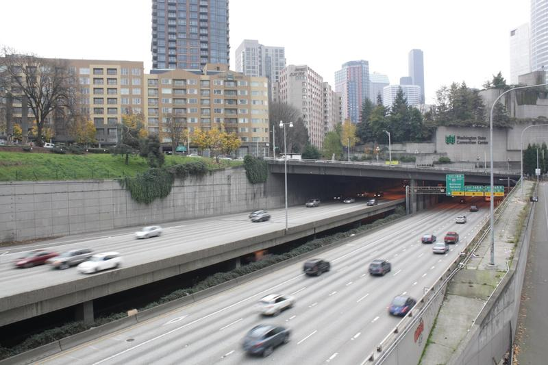 File photo of Interstate 5 passing through downtown Seattle.