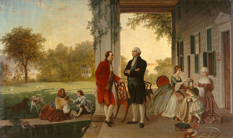 Washington and Lafayette at Mount Vernon, 1784, by Thomas Prichard Rossiter and Louis Rémy Mignot.
