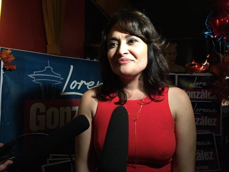Lorena Gonzalez at her election night party on Nov. 3, 2015, in Seattle.