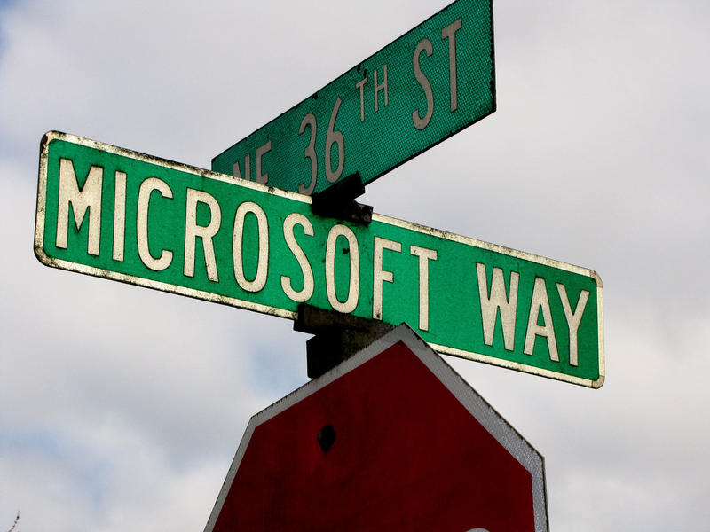 Street sign on Microsoft campus in Redmond, Washington.