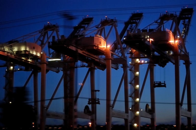 Port of Seattle cranes loom overhead. After a port slowdown last year, retailers and growers are trying to repair the damage of lost business.