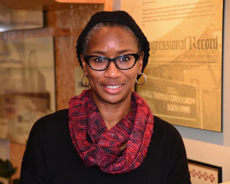 University of Washington history professor Stephanie Smallwood at KUOW studios on Monday, Nov. 16, 2015.