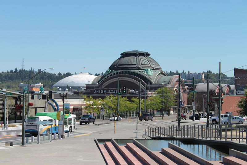 File photo of Tacoma Dome and Union Station in Tacoma, Washington.