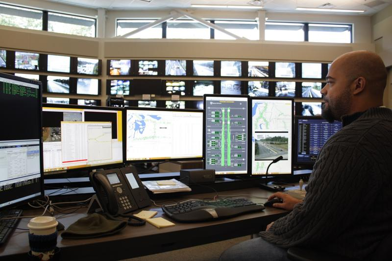 Timothy McCall works in WSDOT's new $17.3 million Northwest Region Transportation Management Center in Shoreline.