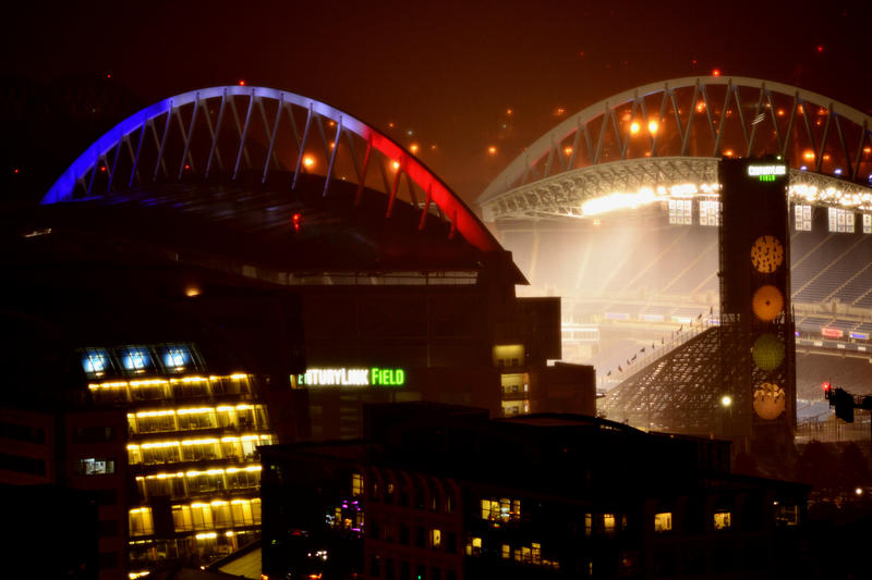The colors of the French flag light up CenturyLink Field on Saturday, Nov. 14 in a display of solidarity with France and respect for victims of the Paris atacks.