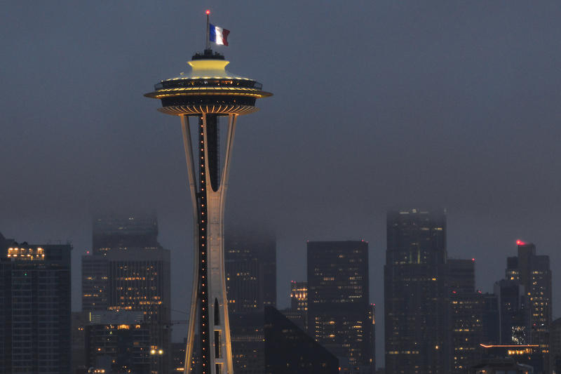 The French flag flies over the Space needle on Saturday Nov. 14. It was one of several displays of solidarity with France in Seattle after the terrorist attacks on Nov. 13.