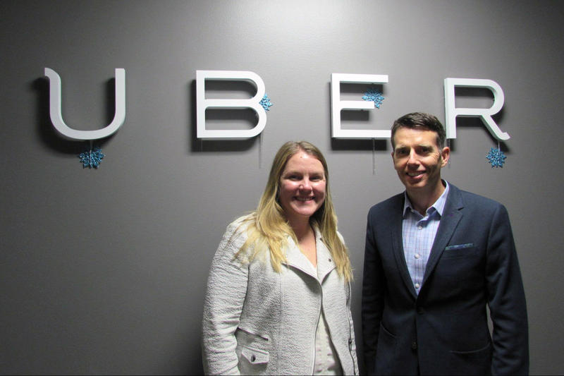 Uber General Manager Brooke Steger and chief adviser David Plouffe at the company's Seattle offices.