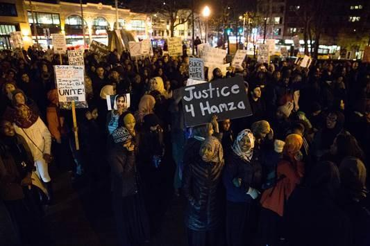 People rally on Capitol Hill in December in memory of Hamza Warsame, a 16-year-old Somali American who died in a fall from an apartment building.