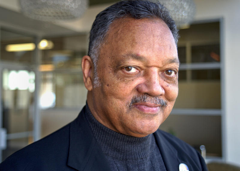 Rev. Jesse Jackson Sr. at KUOW Public Radio on Tuesday.