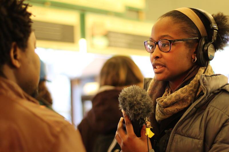 Poet Leija Farr at a RadioActive workshop
