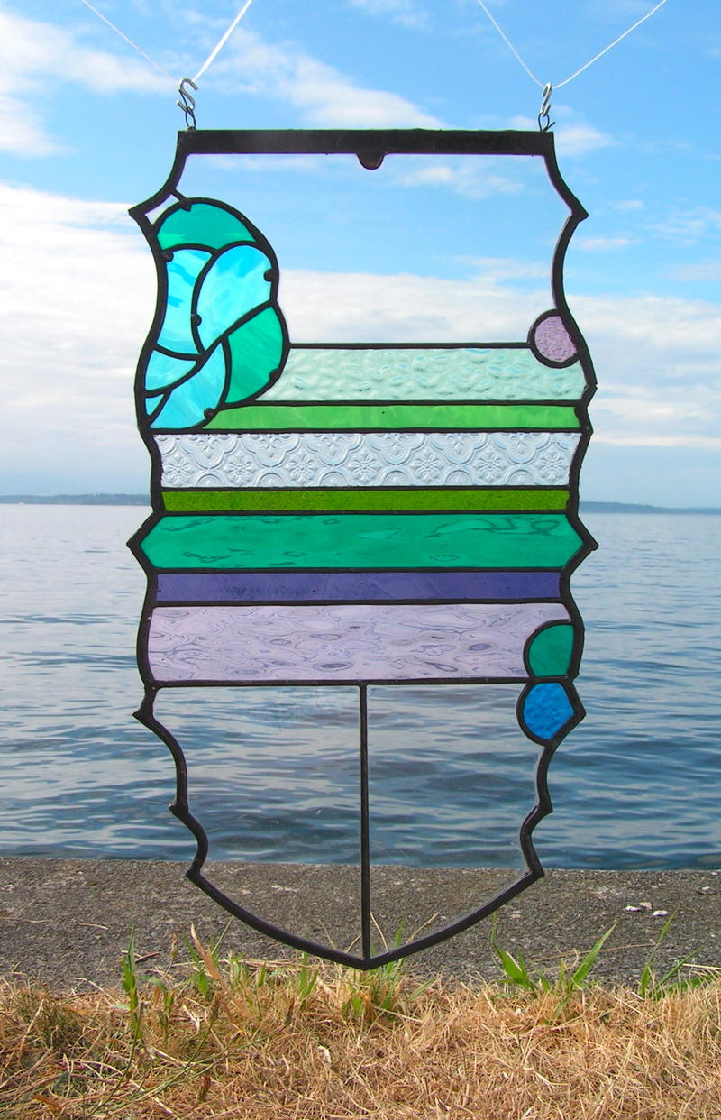 Joby Shimomura's stained glass work at Alki Beach in West Seattle.