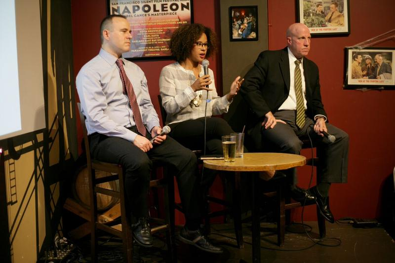 Seattle Police Sgt. Sean Whitcomb, left, UW Professor Megan Ming Francis and Seattle Police Assistant Chief Robert Merner at Humanities Washington's Think & Drink.