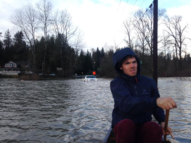 Andrew Ide grapples with flooding on his farm in Snohomish.