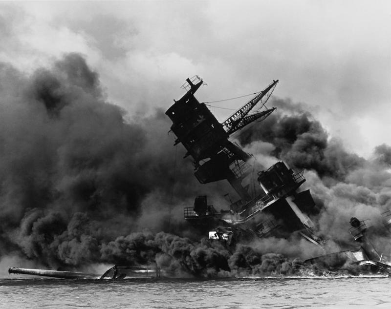 USS Arizona during the attack on Pearl Harbor on Dec. 7,  1941.