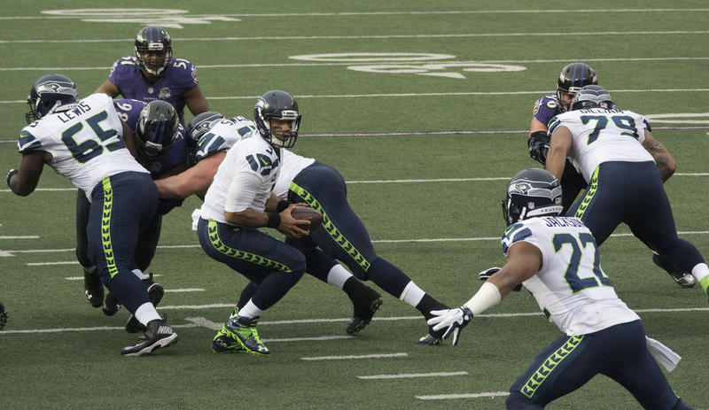 Seattle Seahawks play at the Baltimor Ravens on Dec. 13, 2015.