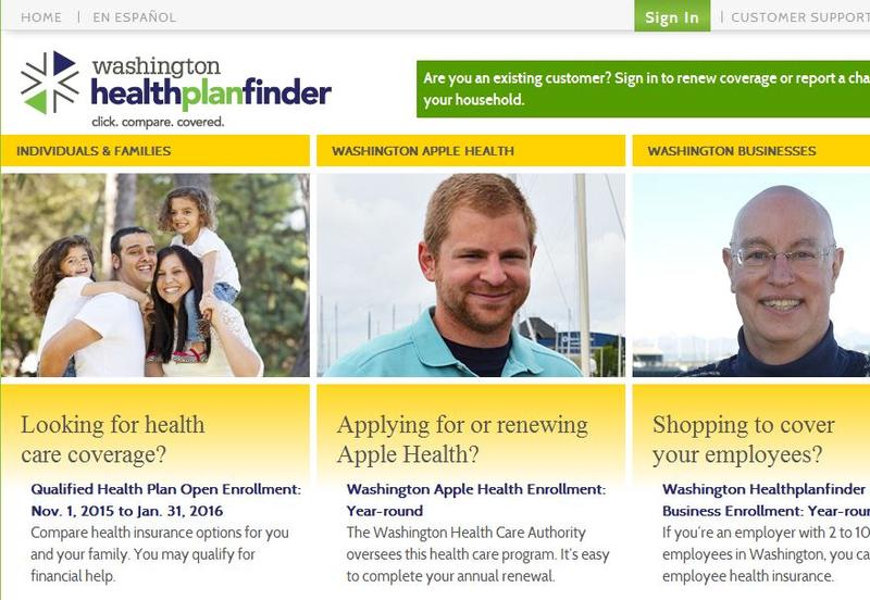 The Washington Healthplanfinder website.