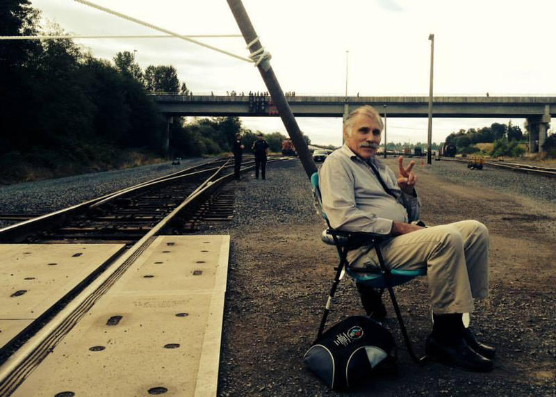 Activist Michael Lapointe at the BNSF Railway blockade in September 2014.