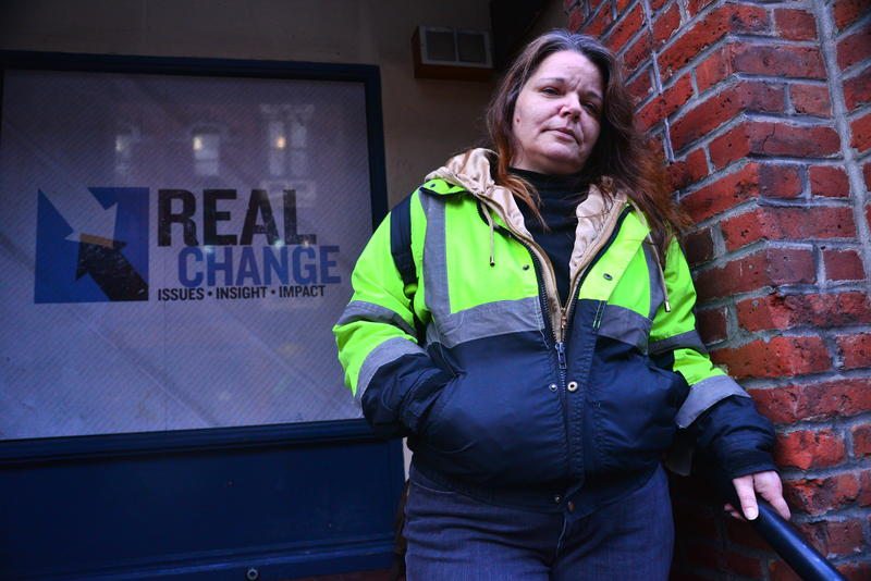 Darcie Day heads out to sell Real Change newspaper in Seattle after shooting in the 'Jungle.'