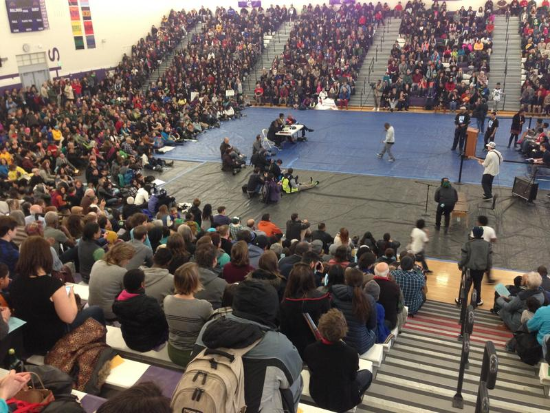 Rapper Draze performs at Garfield High School's Martin Luther King Day rally