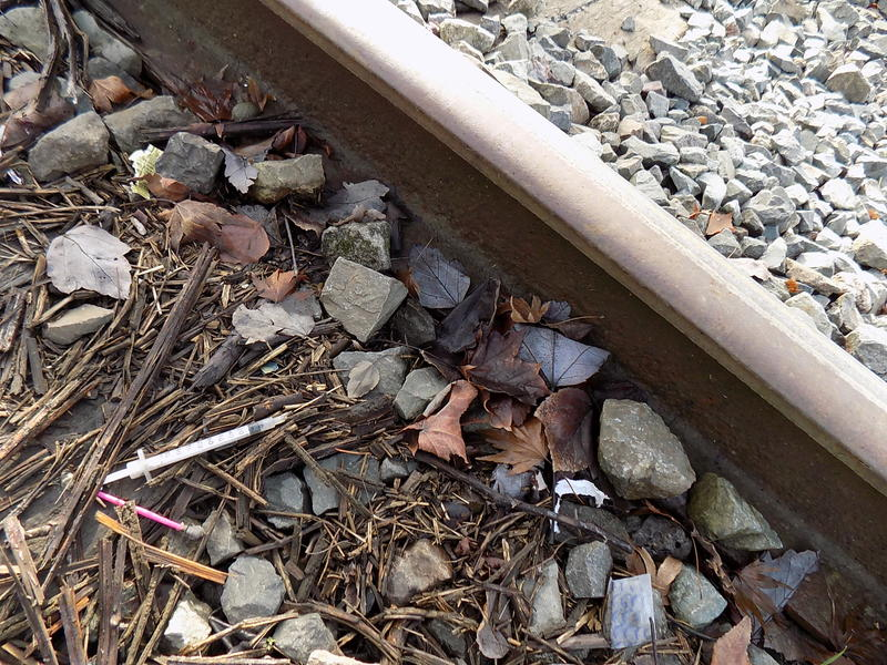 A discarded hypodermic needle next to the train tracks outside the Yankee Diner on Shilshole Avenue. Neighbors have complained about drug use, waste and garbage they attribute to car campers and RVs in the neighborhood.